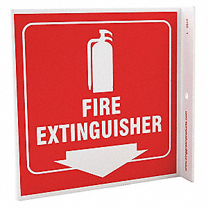 Fire Extinguisher Sign,7 x 7In,WHT/R,ENG