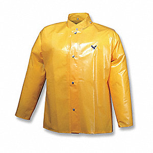 "Men's Gold Polyurethane Rain Jacket, Size 4XL, Fits Chest Size 58"" to 60"""