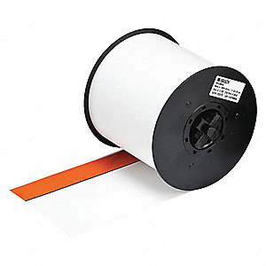 "Indoor/Outdoor Vinyl Film Label Tape Cartridge, White/Orange, 4""W x 100 ft."