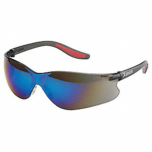Xenon™ Uncoated Safety Glasses, Blue Mirror Lens Color