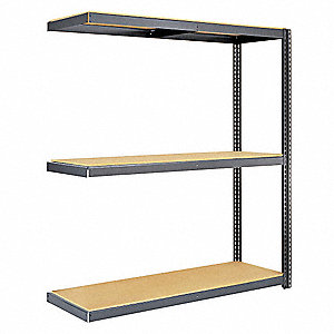 "Add-On Boltless Shelving with Particle Board Decking, 3 Shelves, 96""W x 24""D x 84""H"