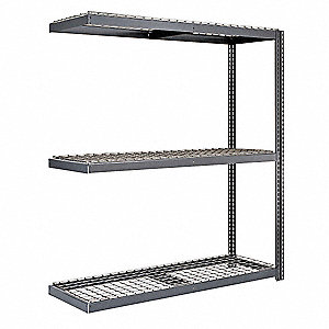 "96""W x 24""D x 84""H Steel Boltless Shelving Add-On Unit, Gray&#x3b; Number of Shelves: 3"