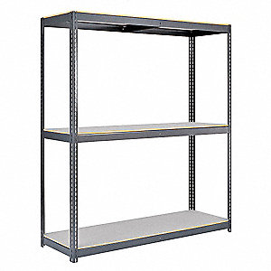 "Starter Boltless Shelving with Laminate Decking, 3 Shelves, 48""W x 36""D x 84""H"