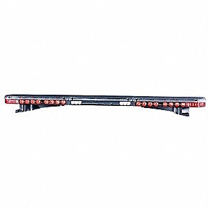 Red Low Profile Light Bar, LED Lamp Type, Permanent Mounting, Number of Heads: 12
