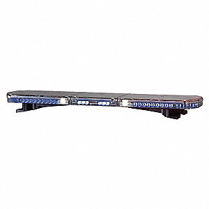 Blue Low Profile Lightbar, LED Warning, Halogen Flood and Alley Lamp Type, Permanent Mounting, Numbe