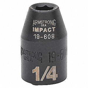 IMPACT SOCKET, 3/8IN DR, 1/4IN, 6PT