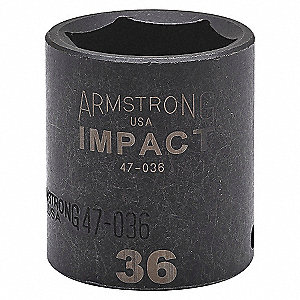 IMPACT SOCKET, 1/2IN DR, 15MM, 6PT
