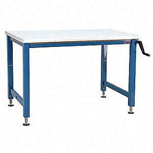 "Hand Crank Workbench, ESD Laminate, 36"" Depth, 30"" to 42"" Height, 72"" Width, 1000 lb. Load Capacity"