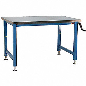 "Hand Crank Workbench, Stainless Steel, 36"" Depth, 30"" to 42"" Height, 60"" Width, 1000 lb. Load Capaci"