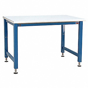 "Electric Workbench, Laminate, 30"" Depth, 30"" to 42"" Height, 60"" Width, 1000 lb. Load Capacity"