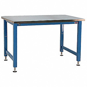 "Electric Workbench, Stainless Steel, 30"" Depth, 30"" to 42"" Height, 96"" Width, 1000 lb. Load Capacity"