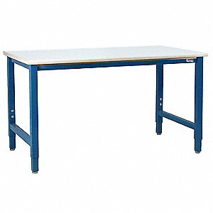 "Ergonomic Workbench, 60"" Length, 36"" Width, Formica  Plastic Laminate  Pull-Pin"