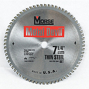 7-1/4 Carbide Metal Cutting Circular Saw Blade, Number of Teeth: 68