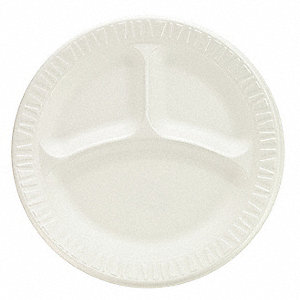 9 in. Round Foam Plate, White&#x3b; PK500