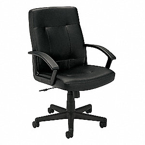 "VL602 Black Leather Upholstery Managers Chair, 41-1/2"" Overall Height"