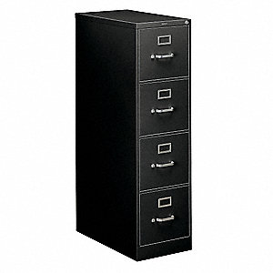 "15"" x 26-1/2"" x 52"" 4-Drawer 310 Series File Cabinet, Black"