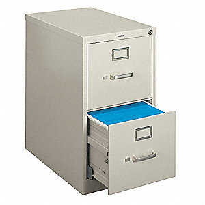 "15"" x 22"" x 26-1/8"" 2-Drawer H410 Series File Cabinet, Light Gray"