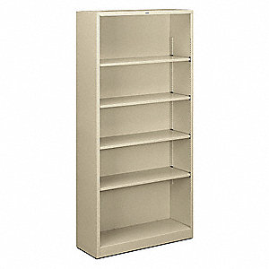 "34-1/2"" x 12-5/8"" x 71"" Brigade Series Bookcase with 5 Shelves, Putty"