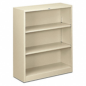 "34-1/2"" x 12-5/8"" x 41"" Brigade Series Bookcase with 3 Shelves, Putty"