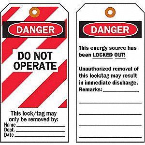 TAGS DO NOT OPERATE CARDSTOCK 25/PK