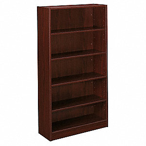 Bookcase,5-Shelf,65 H,Mahogany