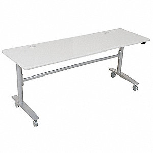 "Mobile Training Table, Rectangle, Platinum, Width 72"", Depth 24"", Height 29-1/2"""
