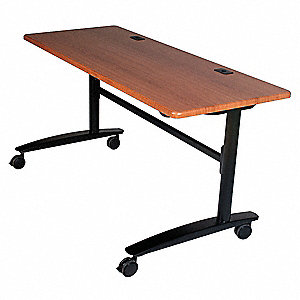 "Mobile Training Table, Rectangle, Black Cherry, Width 60"", Depth 24"", Height 29-1/2"""