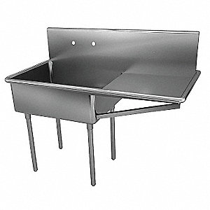 Stainless Steel Scullery Sink with Drainboards, Without Faucet, 14 Gauge, Floor Mounting Type