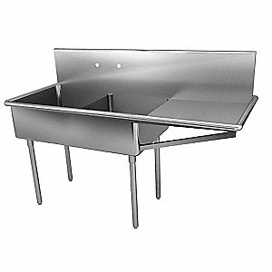 Scullery Sink with Drainboards,75 In. L