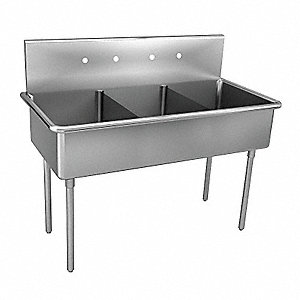 Scullery Sink with Drainboards,57 In. L