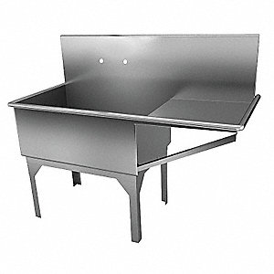 Stainless Steel Government-Type Scullery Sink, Without Faucet, 14 Gauge, Floor Mounting Type
