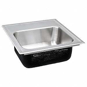 "15"" x 18"" x 7-1/2"" Drop-In Sink with Faucet Ledge with 12"" x 12"" Bowl Size"