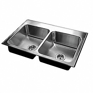 "43"" x 22"" x 7-1/2"" Drop-In Sink with Faucet Ledge with 19"" x 16"" Bowl Size"