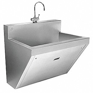 Stainless Steel Scrub Sink, With Faucet, Wall Mounting Type, Stainless Steel