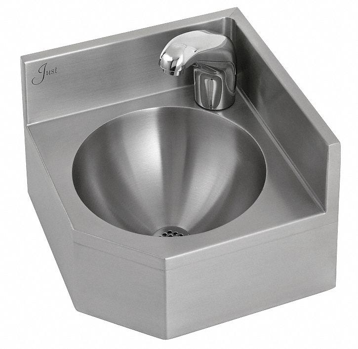 JUST MANUFACTURING Corner Bathroom SinkWall1234 In L 13G651