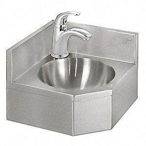 "Stainless Steel Wall Corner Bathroom Sink With Faucet, 10"" dia. Bowl Size"