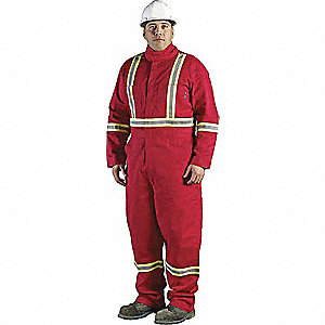 COVERALLS FR W/REFLECTIVE RED 58
