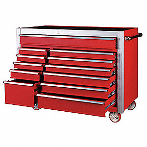 "Red Rolling Cabinet, Width: 55-5/8"", Depth: 24"", Height: 44-5/16"""