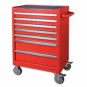 "Red Rolling Cabinet, Width: 26-13/16"", Depth: 18-5/8"", Height: 39-7/8"""