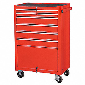 "Red Rolling Cabinet, Width: 27-1/8"", Depth: 18"", Height: 43-1/8"""