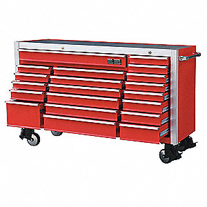"Red Rolling Cabinet, Width: 73-1/2"", Depth: 29-5/16"", Height: 46-5/16"""