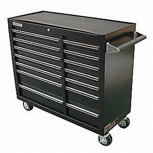"Black Rolling Cabinet, Width: 42"", Depth: 18"", Height: 39"""