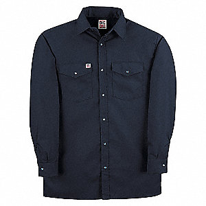 SHIRT WORK SNAP FRONT LN/SL NAVY