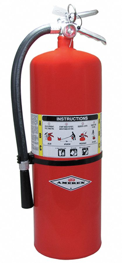 Fire Extinguisher, Dry Chemical, Monoammonium Phosphate, 20 lb, 10A:120B:C UL Rating