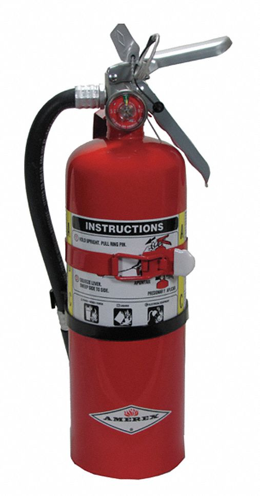 Fire Extinguisher, Dry Chemical, Monoammonium Phosphate, 5 lb, 3A:40B:C UL Rating