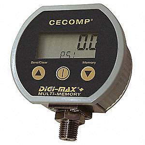 "-30 to 0 to 100 In. Hg/psi Digital Compound Gauge, 3"" Dial, 1/4"" MNPT Connection, Metal"