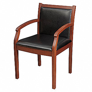 Regent Guest Chair,Vinyl,Black,Cherry