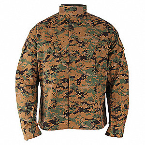 "Military Coat, XL Fits Chest Size 45"" to 48"", Woodland Digital Color"