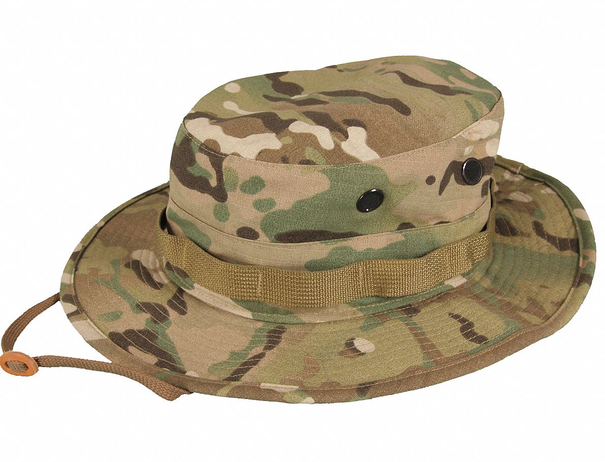 Boonie,  Multicam,  Size 7-1/4 in,  22-5/8 in Head Size,  65% Polyester/35% Cotton Ripstop
