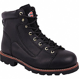"6""H Men's Work Boots, Steel Toe Type, Leather Upper Material, Black, Size 10-1/2"